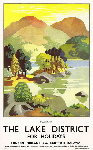 Ullswater - the Lake District - poster, by Clodagh Sparrow, issued by the London Midland  Scottish Railway, c1936 by mikeyashworth, via Flickr