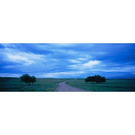 Country road passing through a landscape Kansas USA Canvas Art - Panoramic Images (27 x 9)