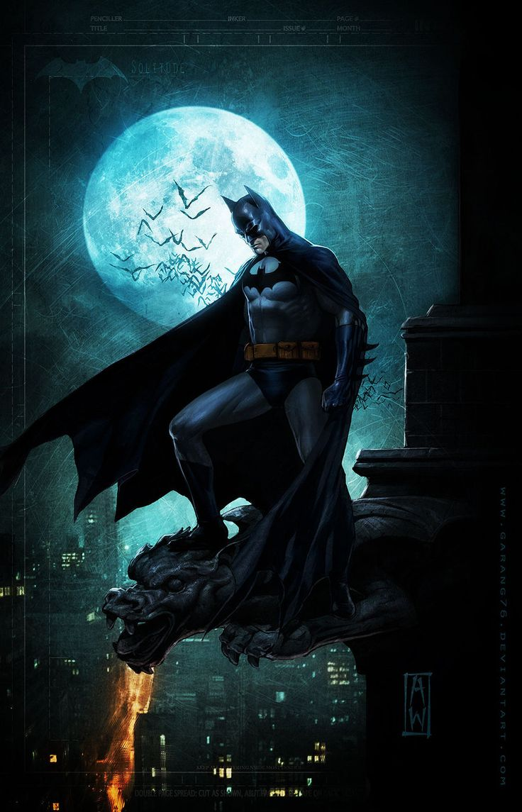 I kind of like this, with him standing on the gargoyle or whatever it is, with the moon in the background. Kind of sweet.