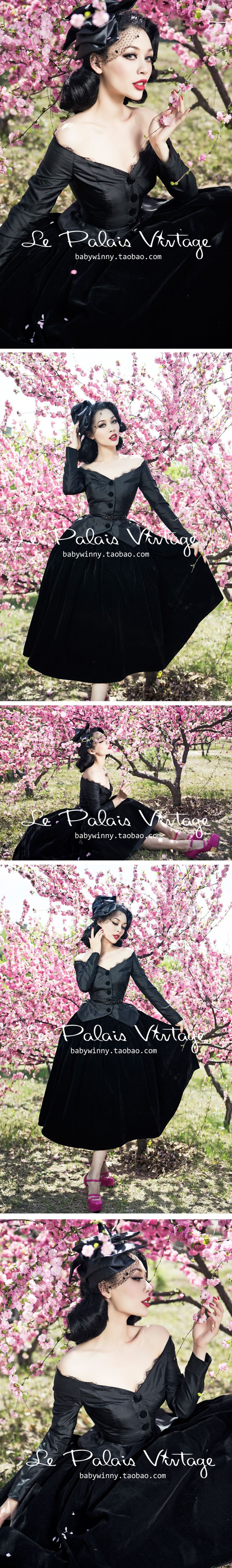 Aliexpress.com : Buy FREE SHIPPINF Le palais vintage elegant all match classic black flat flannelette high waist puff skirt from Reliable high waist puff skirt suppliers on Vintage Palace.