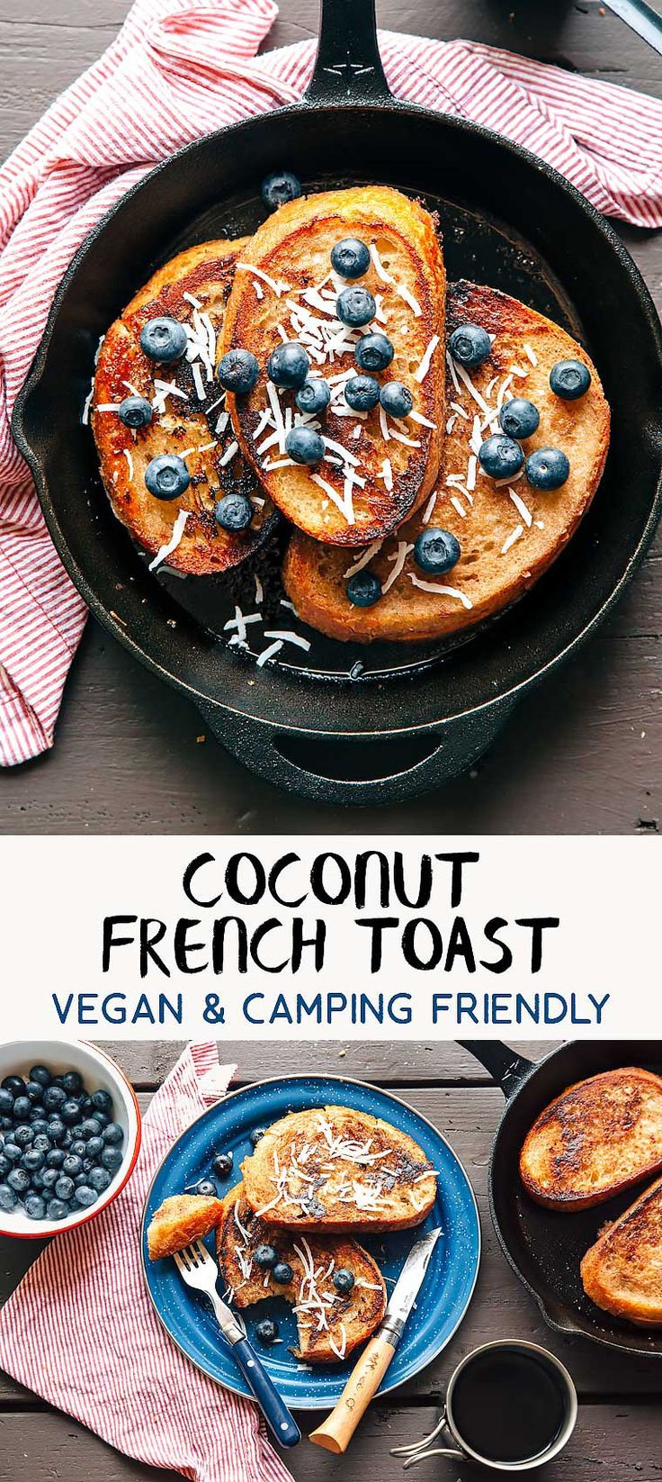 Here's an easy vegan camping breakfast idea: Banana and Coconut French Toast. Camping food that everyone can enjoy!