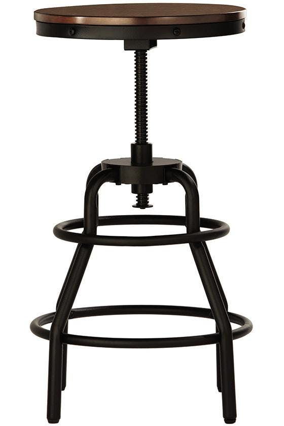 Industrial Mansard Stool, $139Tuck a pair of adjustable, industrial swivel stools under a shallow shelf, and, bingo!, you now have an eat-in kitchen.