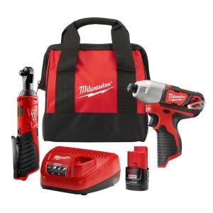 $99, Was $199, 50% Off! Milwaukee M12 12-Volt Lithium-Ion Cordless 1/4 in. Impact Driver and 3/8 in. Ratchet Combo Kit dealfomo