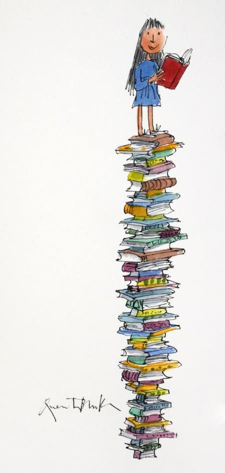 MATILDA AND HER TOWER OF BOOKS | Chris Beetles Gallery; art by Sir Quentin Blake