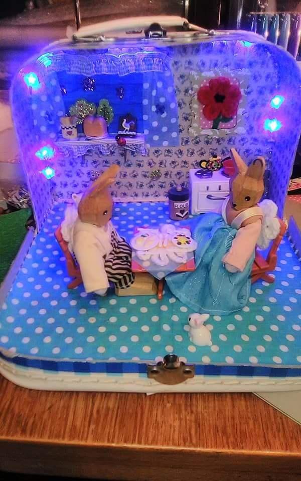 Bunny Rabbit in Kitchen Scene Diorama Miniature Miniatures Dollshouse Easter Night Light by TeenyTinyPocketWorld on Etsy