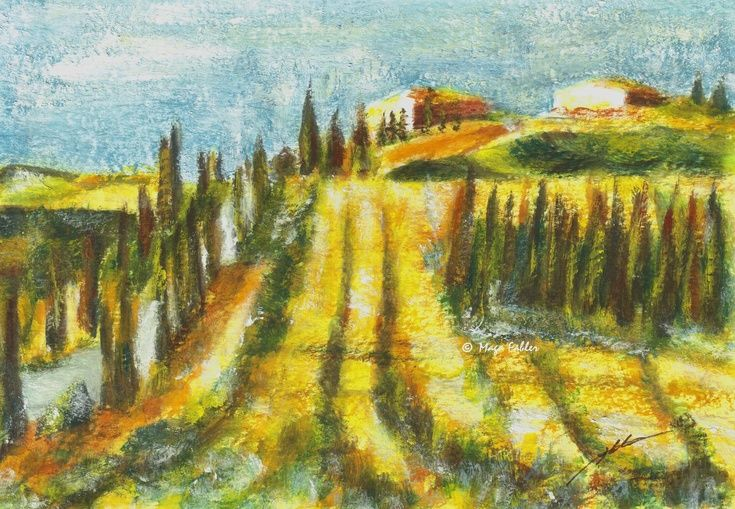 Val d'Arbia fields, Tuscany, Italy by Maga Fabler.  Original gouache painting on watercolor paper 13x18 cm (~ 5x7 in.)