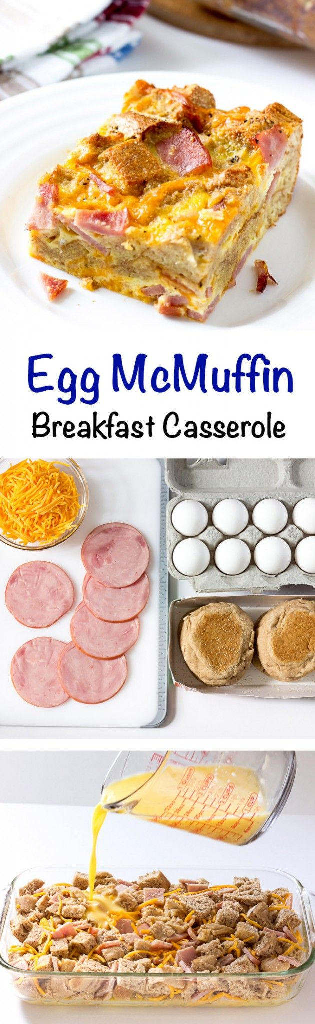 Egg McMuffin Breakfast Casserole - An easy breakfast casserole based on the McDonalds sandwich.  Great for feeding a crowd for the holidays.  Could also make ahead!