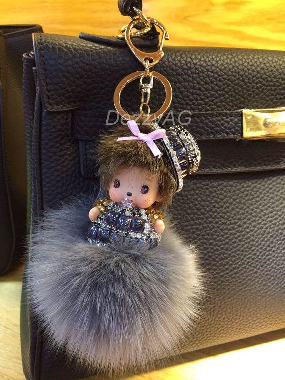 Cute Bag Charm cute monchhichi keychain grey real fur by DezzyAG