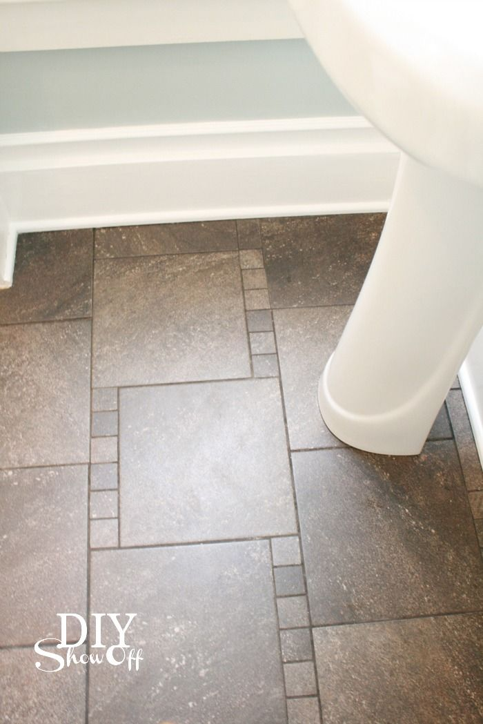 trim and tile @DIY Show Off flooring for the bathroom &/or wall tile