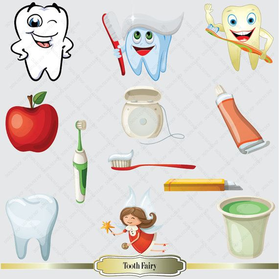 Tooth Fairy Clip Art - Tooth Clipart - Instant Download Digital Images