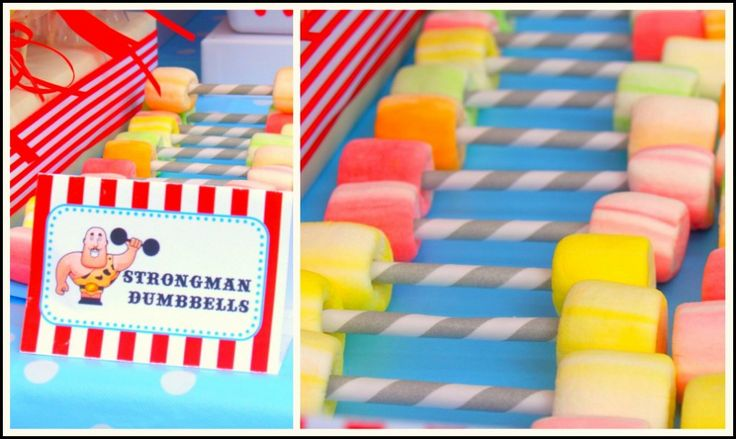I love these vintage dumbbells made with paper straws and marshmallows for a circus themed party. How easy and fun!