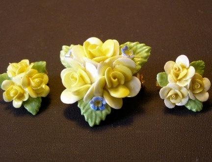 Coalport China Earrings And Pin Costume Jewelry Bone Pinterest