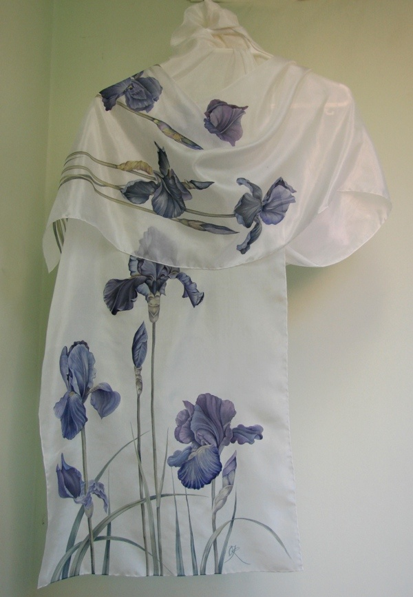 "Silk scarf ""Black irises"" silk painting by Lena Korolyuk"