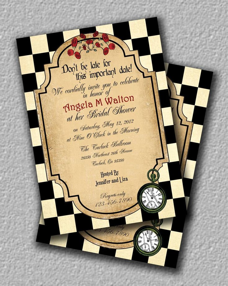 Alice In Wonderland Tea Party Invitation Or Brithday