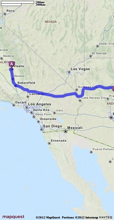 Driving Directions From Visalia California To Sedona