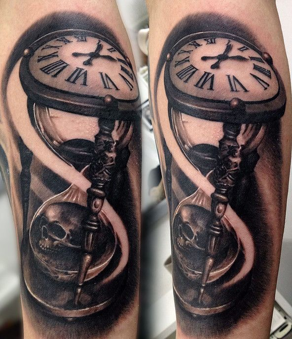 Black and grey realistic hourglass and skull tattoo.                                                                                                                                                                                 More
