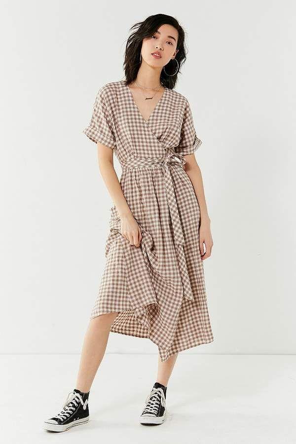fbc0a15a1d Urban Outfitters Gabrielle Linen Midi Wrap Dress