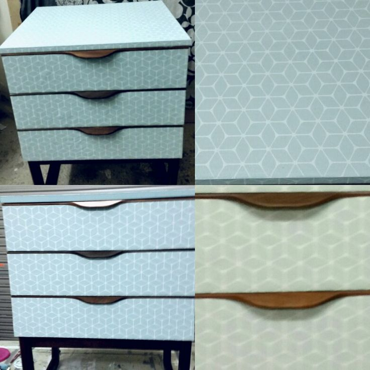 Europa mid century drawer set .covered in this lovely geometric design wallpaper but left the teak legs and handles to show them off as their in such good condition