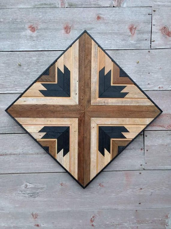 Salvaged Wood Decor Reclaimed Wood Art Lath Wall Art Rustic #HomemadeWallDecorations,
