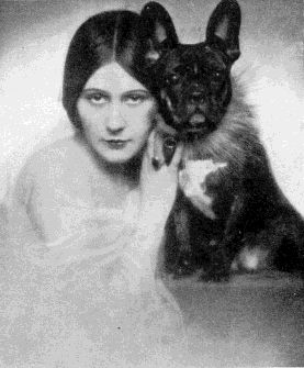 The Silent Movie Actress, Vera Salvotti with her French Bulldog. She was President of the Italian Women's Kennel Club in 1933.