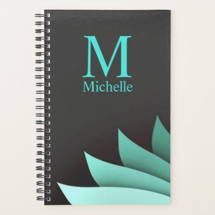 Elegant Turquoise Floral Personalized Monogram Planner - monogram gifts unique design style monogrammed diy cyo customize