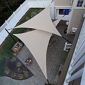 Shade sails are an innovative and aesthetically pleasing way to create shaded spaces outside of the home or business. At home, they allow you to cover your patio, swimming pool area, gardens, children's play areas, cars and other vehicles, and virtually any outdoor area that you would like to be protected from the sun.
