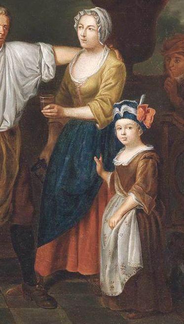 "1750 - 1770. Detail of ""Painter's Studio"" by Jan Jozef Horemans II (Flemish painter). Women -- Clothing & dress -- 1700-1799 -- Belgium. 18th century Flemish costume.  Yellowish-tan jacket, dark blue apron or petticoat, salmon-orange petticoat."