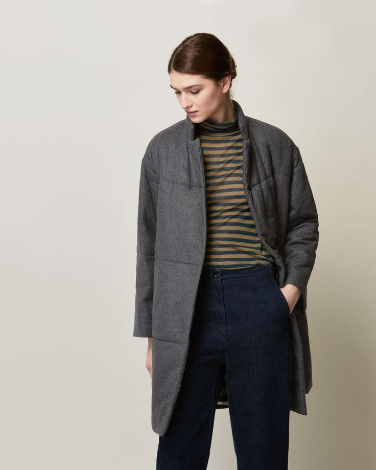 QUILTED MIHO COAT | Oversized quilted coat in a soft wool blend flannel. Rounded, Chinese-style collar.