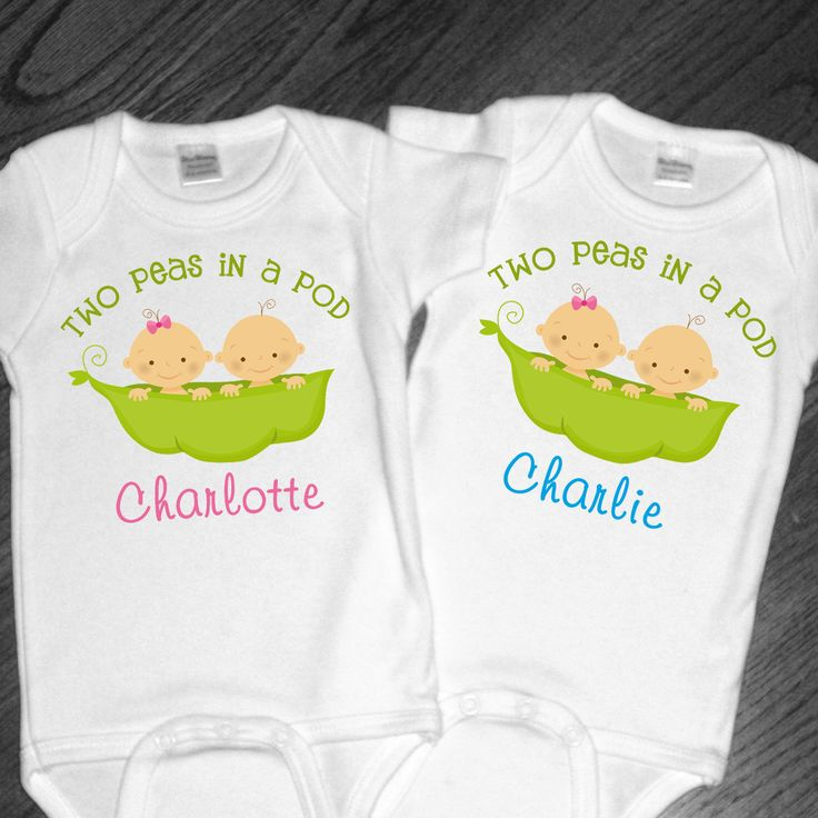 Set of 2 Personalized Two Peas in a Pod Shirts or Bodysuits for Twins - any gender combination available by siblingspecialtees on Etsy https://www.etsy.com/listing/79601728/set-of-2-personalized-two-peas-in-a-pod