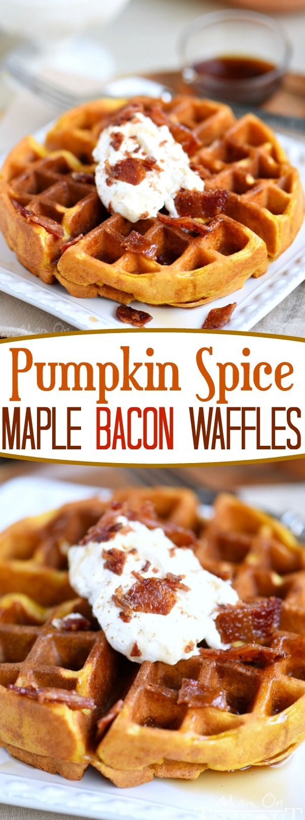 These Pumpkin Spice Maple Bacon Waffles are the perfect way to celebrate the most important meal of the day! Great for the holidays and all fall long! You're going to love the spiced maple bacon that's inside each waffle - so good! // Mom On Timeout