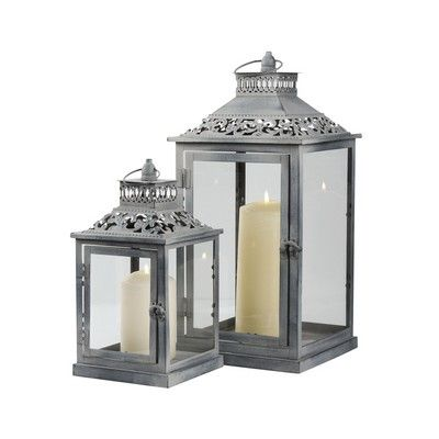 These 'Set of 2 Washed Vintage Lanterns' would make a great wedding or household decoration £14.99