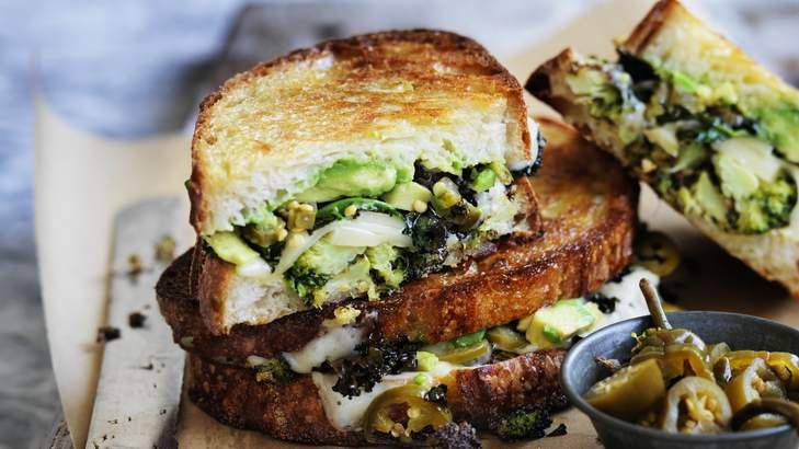 Eat your greens: Broccoli, kale and melting cheese combine to make a pan-fried toastie like no other.