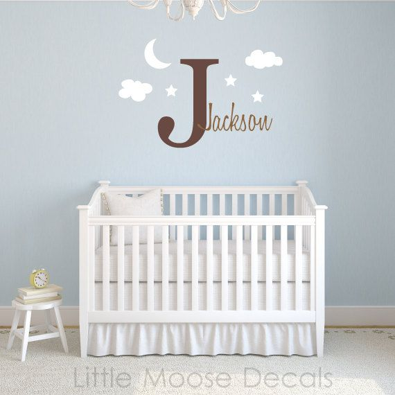 Children Wall Decal Baby Name Monogram Vinyl - Nursery Decals Letter Child Clouds Stars Moon Sky via Etsy