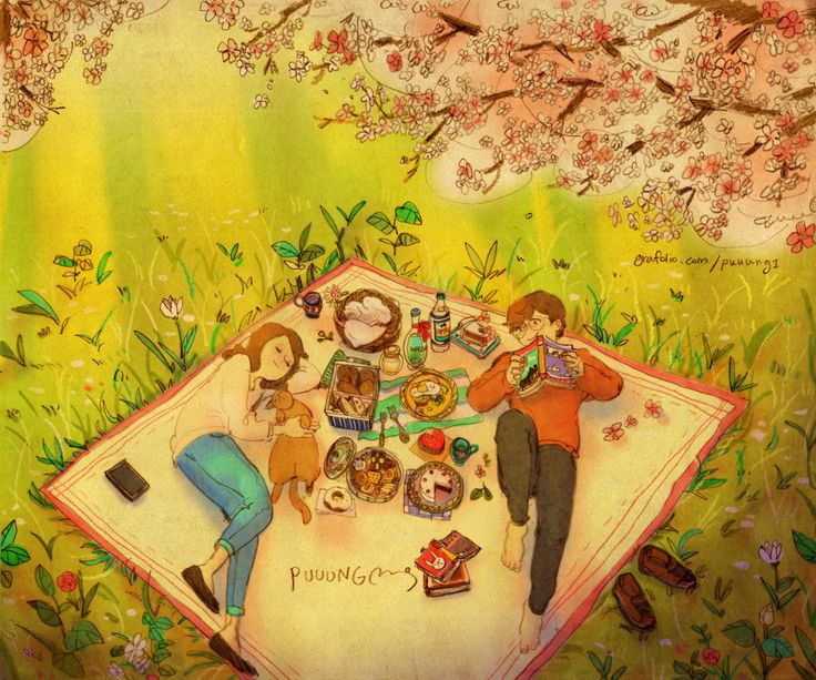 """♥  BEAUTIFUL WEATHER ~  We lay under a canopy of cherry blossoms. """"You look so lovely.""""  ♥  by Puuung at www.grafolio.com/illustration/155398  ♥"""