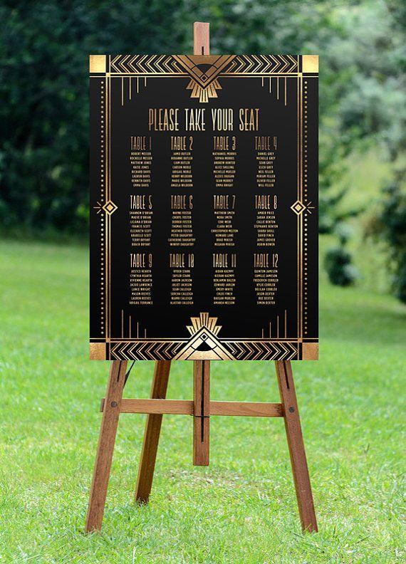 mariage assise graphique, graphique imprimable sièges, sièges de mariage, plan de table, signe de mariage, art déco mariage, Gatsby le magnifique mariage, numérique