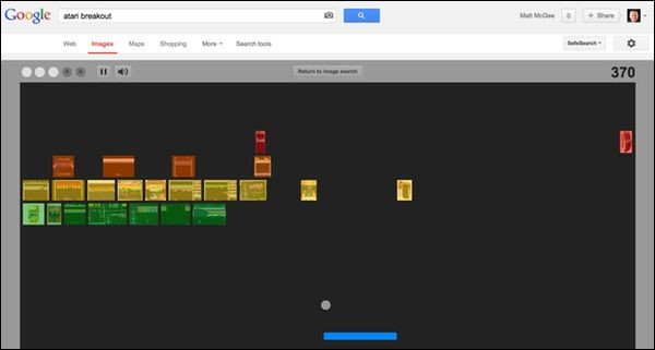 "This is what happens when you do a #Google image search for ""atari breakout.""  http://searchengineland.com/googles-atari-breakout-easter-egg-159381"