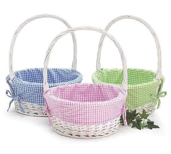 Monogrammed Easter Baskets With Gingham Liner 4 Colors