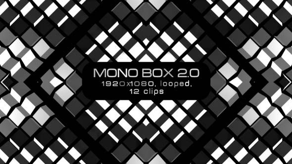 Mono Box 2.0 Video Animation | 12 clips | Full HD 1920×1080 | Looped | H.264 | Can use for VJ, club, music perfomance, party, concert, presentation | #black #disco #dynamic #edm #fast #loop #monochrome #moving #music #shape #stripes #techno #trap #vj #white