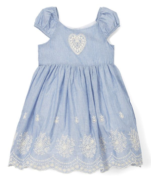 Look at this Laura Ashley Blue & White Heart A-Line Dress - Infant, Toddler & Girls on #zulily today!
