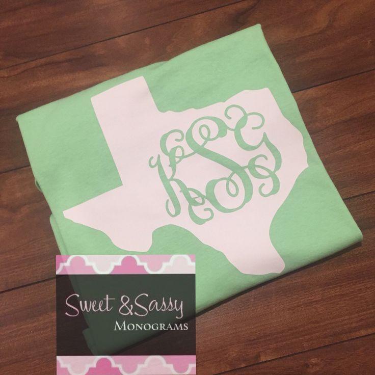 State of Texas Monogram Shirt, Texas Shirt by SweetSassyMonograms on Etsy