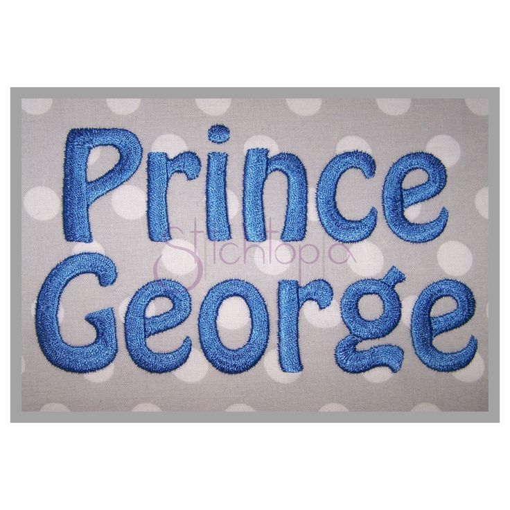 """This set islots of fun for babies and kids! Pair it with our Prince George Applique Fonts! Sizes: .5"""", 1"""", 1.5"""", 2"""", 2.5"""", 3"""" Included:Uppercase Letters, Lowercase Letters, Numbers, lowercase i with heart, lowercase j, 7 Punctuation Stitch Type: .5-1"""" Satin Stitch, 1.5-2"""" Weaved Satin Stitch; 2.5-3"""" Chevron Pattern Fill Stitch  IMPORTANT INFO: BX files forEmbrillianceSoftwareare included with every format. A BX key is included for loca..."""