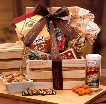 """Valentines Gift For Him Snacks Gift Crate """"This gift"""" box is a Pine crate with lid. It contains Pizza & beer cheddar crackers, pepper cheese triangle, Smokey cheddar cheese straws, cheddar and jalapeno spicy peanuts, 3 oz classic beef salami, deluxe mixed nuts, Hawaiian trail mix and BLT dip."""