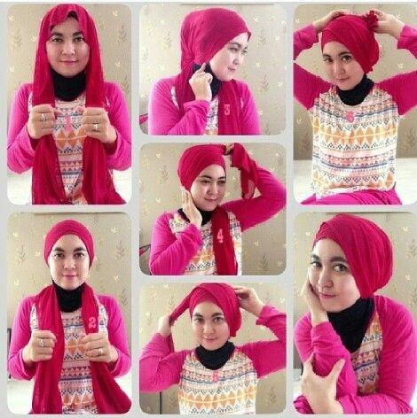 Cara memakai jilbab Ala Angel Lelga simple