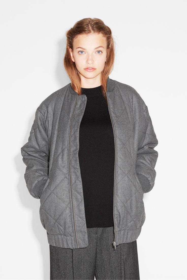 Monki Image 1 of Winter bomber jacket   in Grey