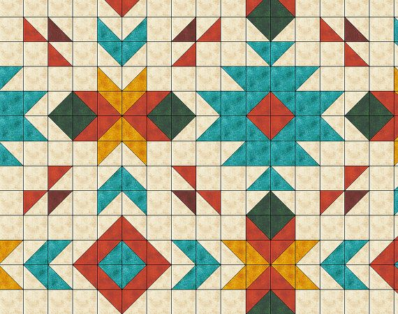 Southwest inspired Quilt Pattern Full size 80 x by QuiltPatterns