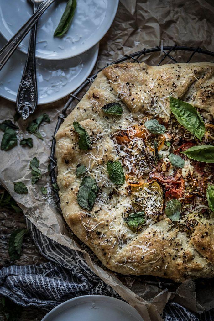 Heirloom tomato galette + lemon balm almond pesto & chevre | Recipe ...