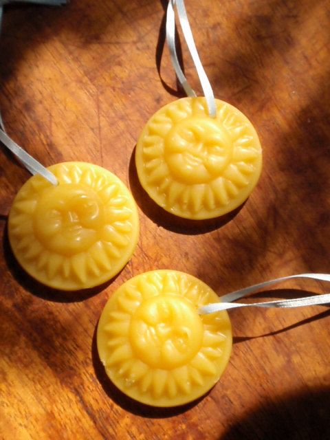 golden sun pure beeswax ornament from prettydreamer on etsy $7
