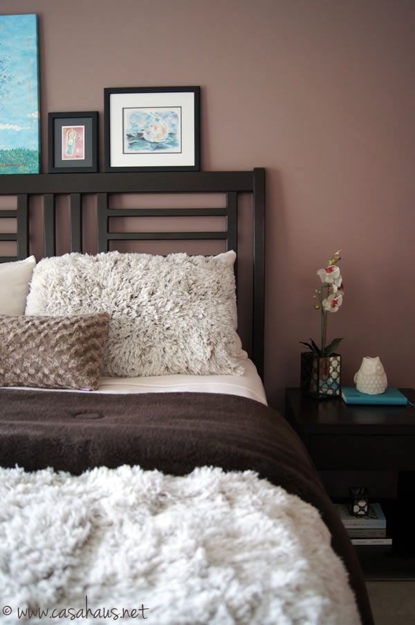 cozy winter bedroom in brown and aqua - Bedroom Colors