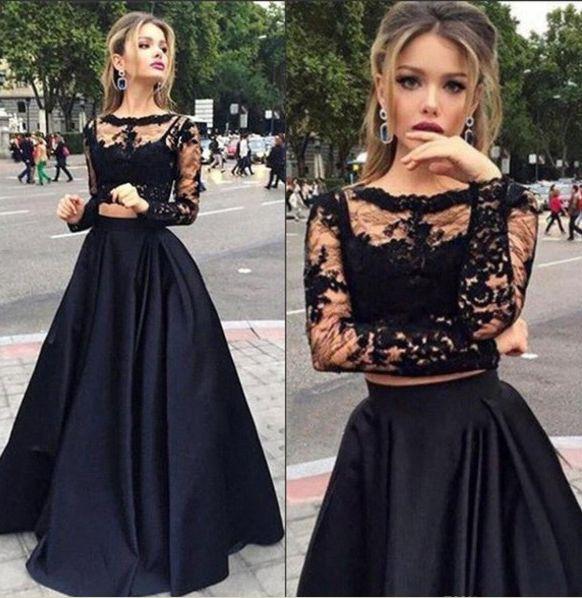 Long Prom Dresses, Sexy Prom Dresses, Black Prom Dresses,2 pieces prom dresses, Long sleeve prom dress, See through prom dress, dresses for prom