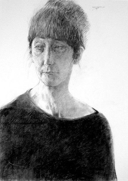 "Gerald Squires ""Gail"" 	 Charcoal on watercolour paper"